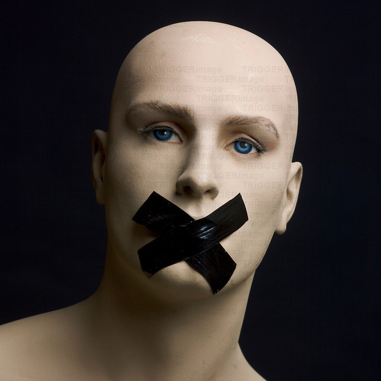 Dummy, mannequin, tape over mouth